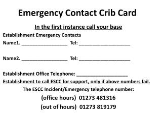 Emergency Contact Crib Card