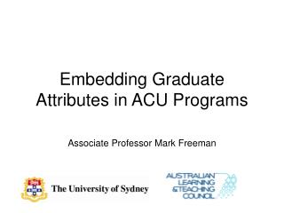 Embedding Graduate Attributes in ACU Programs