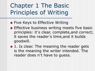 Chapter 1 The Basic Principles of Writing