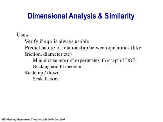 Dimensional Analysis & Similarity