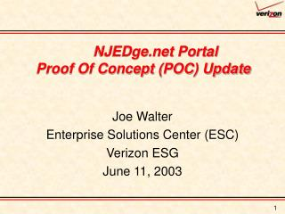 NJEDge Portal  Proof Of Concept (POC) Update
