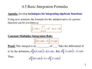 4.5 Basic Integration Formulas