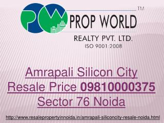 Amrapali Silicon City Resale Price 09810000375 Sector 76 Noi