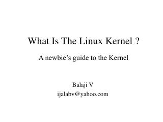 What Is T he Linux Kernel ? A newbie's guide to the Kernel