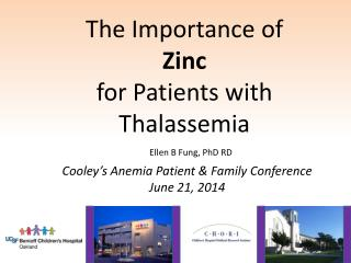 The Importance of  Zinc for Patients with Thalassemia