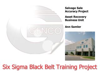 Six Sigma Black Belt Training Project