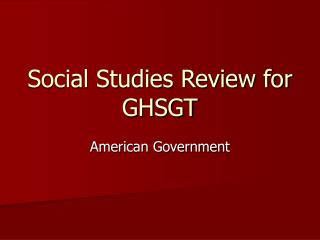 Social Studies Review for GHSGT