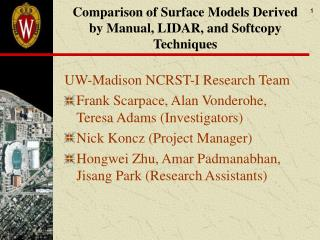Comparison of Surface Models Derived by Manual, LIDAR, and Softcopy Techniques