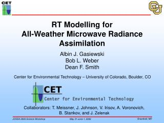 RT Modelling for  All-Weather Microwave Radiance Assimilation