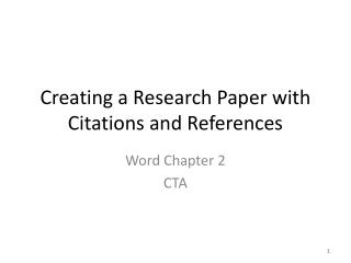 Creating a Research Paper with Citations and References