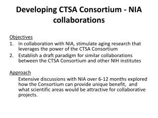 Developing CTSA Consortium - NIA collaborations