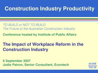 construction productivity thesis Build like you mean it review impacts to engineering, construction, and operations share projects with your customers and partners if you are engaged with a construction project hosted by constructivity, ask the sponsoring.