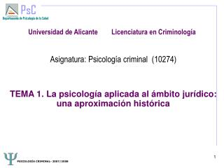 Universidad de Alicante        Licenciatura en Criminología