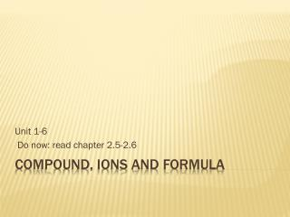 compound, ions and formula