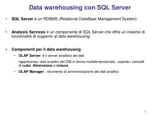 Data warehousing con SQL Server