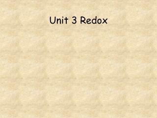 Unit 3 Redox