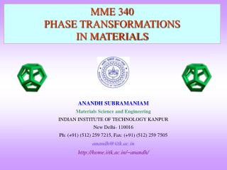 MME 340 PHASE TRANSFORMATIONS  IN MATERIALS