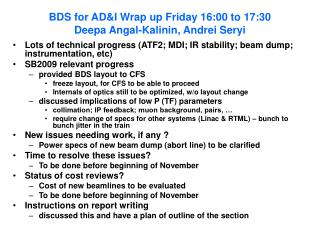 BDS for AD&I Wrap up Friday 16:00 to 17:30 Deepa Angal-Kalinin, Andrei Seryi