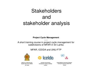 Stakeholders and stakeholder analysis