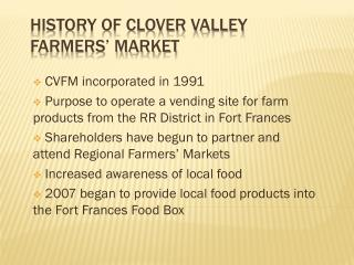 History of Clover Valley Farmers' Market