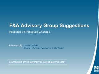 F&A Advisory Group Suggestions