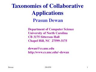 Taxonomies of Collaborative Applications