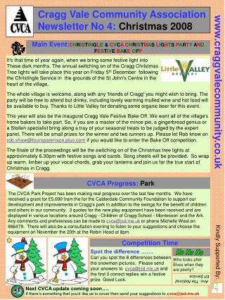 Cragg Vale Community Association    Newsletter No 4:  Christmas 2008