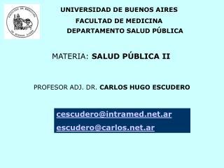 UNIVERSIDAD DE BUENOS AIRES FACULTAD DE MEDICINA