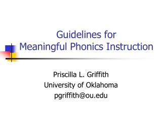 Guidelines for  Meaningful Phonics Instruction