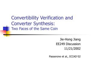 Convertibility Verification and Converter Synthesis:  Two Faces of the Same Coin