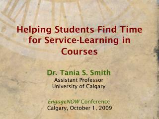 Helping Students Find Time for Service-Learning in Courses