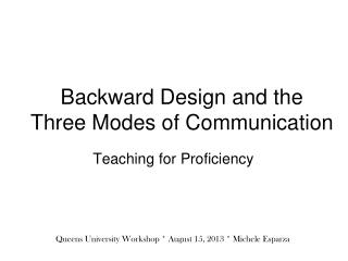 Backward Design and the Three Modes of Communication