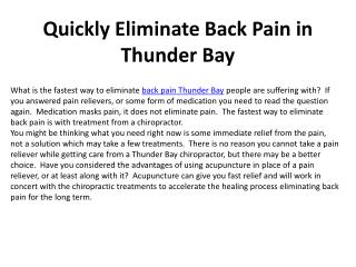 Quickly Eliminate Back Pain in Thunder Bay