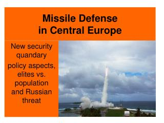 Missile Defense in Central Europe