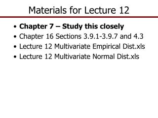 Materials for Lecture 12