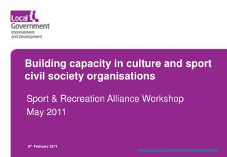 Building capacity in culture and sport civil society organisations