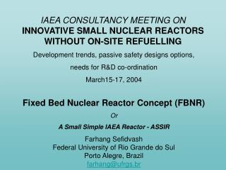 IAEA CONSULTANCY MEETING ON INNOVATIVE SMALL NUCLEAR REACTORS  WITHOUT ON-SITE REFUELLING