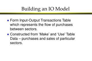 Building an IO Model