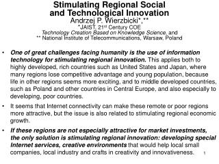 Stimulating Regional Social and Technological Innovation, 2