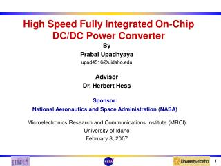 High Speed Fully Integrated On-Chip DC/DC Power Converter