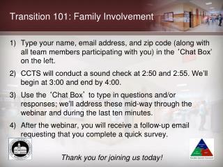Transition 101: Family Involvement