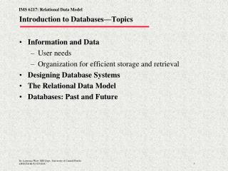 Introduction to Databases—Topics