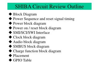 SHIBA Circuit Review Outline