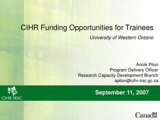 CIHR Funding Opportunities for Trainees