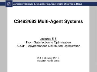 CS483/683 Multi-Agent Systems