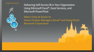 Delivering Self-Service BI in Your Organization  Using Microsoft Excel , Excel Services, and  Microsoft PowerPivot
