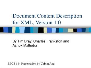 Document Content Description for XML, Version 1.0