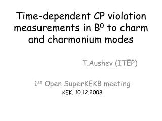 Time-dependent CP violation measurements in B 0  to charm and charmonium modes