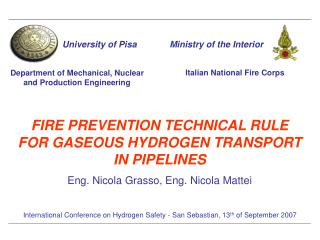 FIRE PREVENTION TECHNICAL RULE FOR GASEOUS HYDROGEN TRANSPORT IN PIPELINES