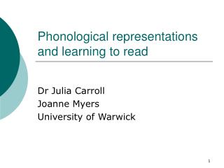 Phonological representations and learning to read